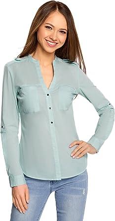 oodji Ultra Mujer Camisa de Algodón Grueso con Charreteras
