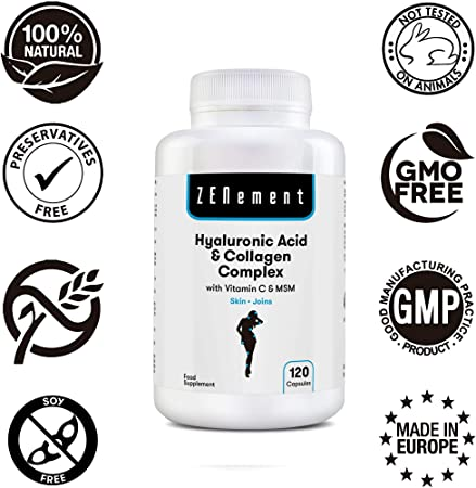 Ácido Hialurónico y Colágeno Complex con MSM y Vitamina C, 120 ...
