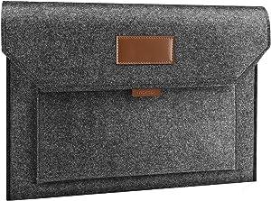 "MoKo 15.6 Inch Felt Laptop Sleeve Case Bag Fits 2019 MacBook Pro 16 Inch, MacBook Pro 15.4"", Surface Book/Surface Laptop 15 inch, Dell Asus Acer Lenovo Samsung HP Chromebook Notebook - Light Gray"