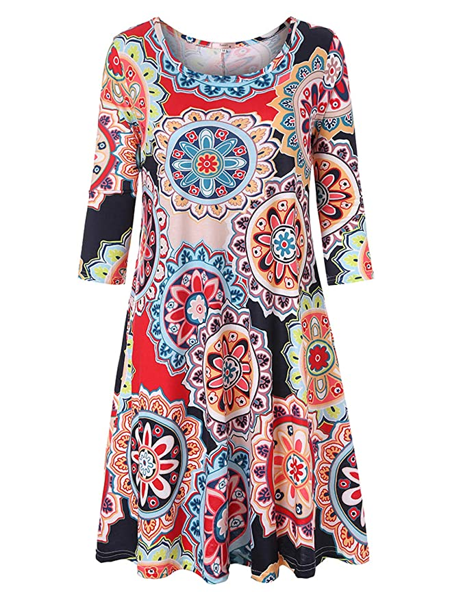 500 Vintage Style Dresses for Sale | Vintage Inspired Dresses Tanst Sky Womens Casual Round Neck Plus Size Floral Tunic Shirt Dress with Pockets $28.99 AT vintagedancer.com