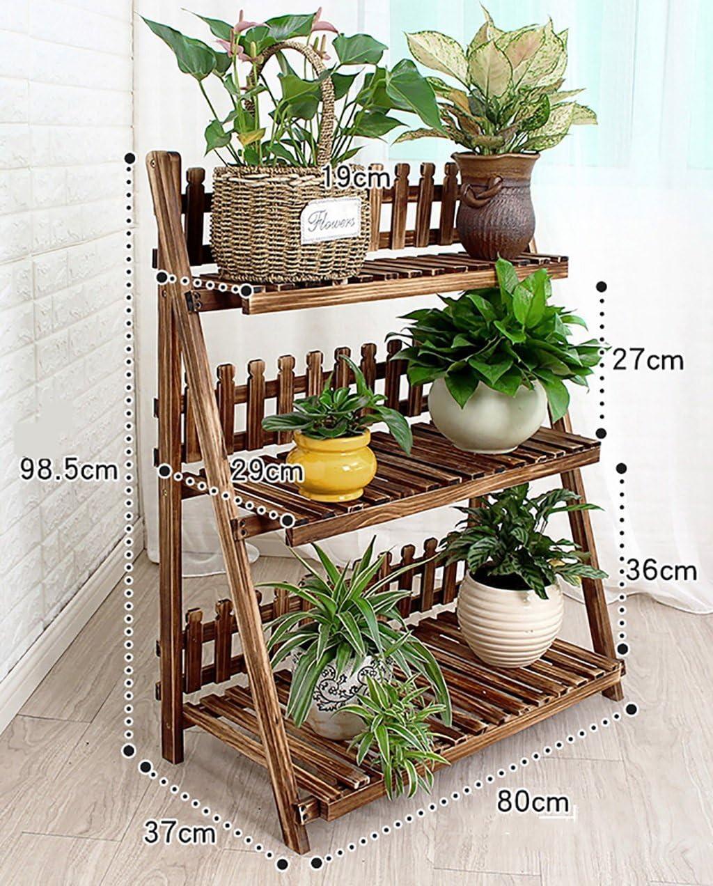 Soporte de flores / soportes de exhibición de flores Estantes de flores de madera / Estantes de plantas para interiores y exteriores / Maceteros de múltiples capas / Escalera de escalera 3F /