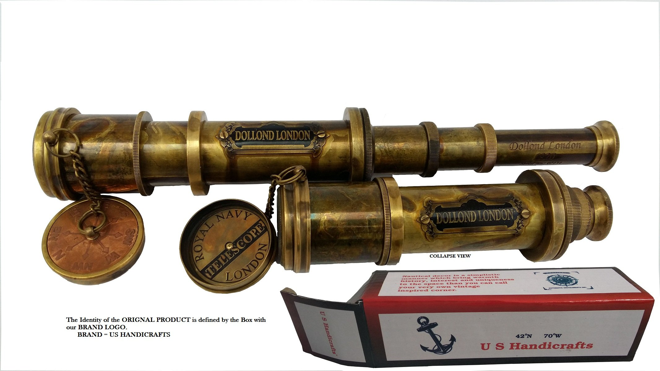 US HANDICRAFTS Antique Style - Marine Sailor-Dollond London Spyglass, 16 inch Brass Telescope with High Resolution, Beautiful Lid and Finish by Commando Antique …