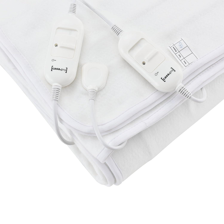 [casa.pro]®] Couverture chauffante avec boîtier de contrôle Amovibles 3 Niveaux de température 160 x 140 cm Blanc pour 2 Personnes