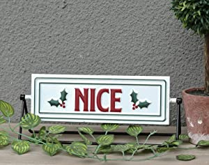 Naughty and Nice 2 Sides Metal Christmas Tabletop Sign Decor | Engraved,Reversible Freestanding Sign