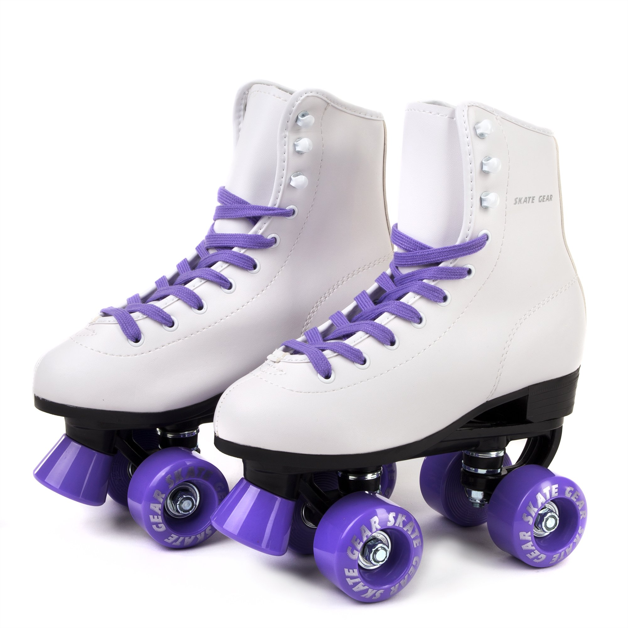 Skate Gear Soft Boot Roller Skate, Retro Fashion High Top Design in Faux Leather for Indoor & Outdoor (Classic Purple, Men's 8 / Women's 9)