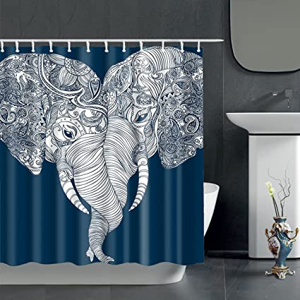Cute Bohemian Elephant Shower Curtain
