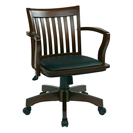 Nice Office Star Deluxe Wood Bankers Desk Chair With Black Vinyl Padded Seat,  Espresso
