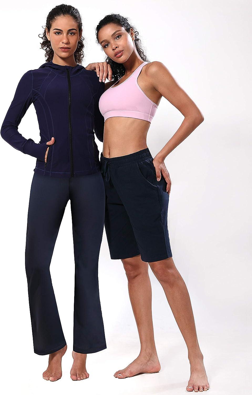 BUBBLELIME 29//31//33//35 Womens Long Bootleg High Waist Yoga Capri Out Pockets Tummy Control Workout Bootcut