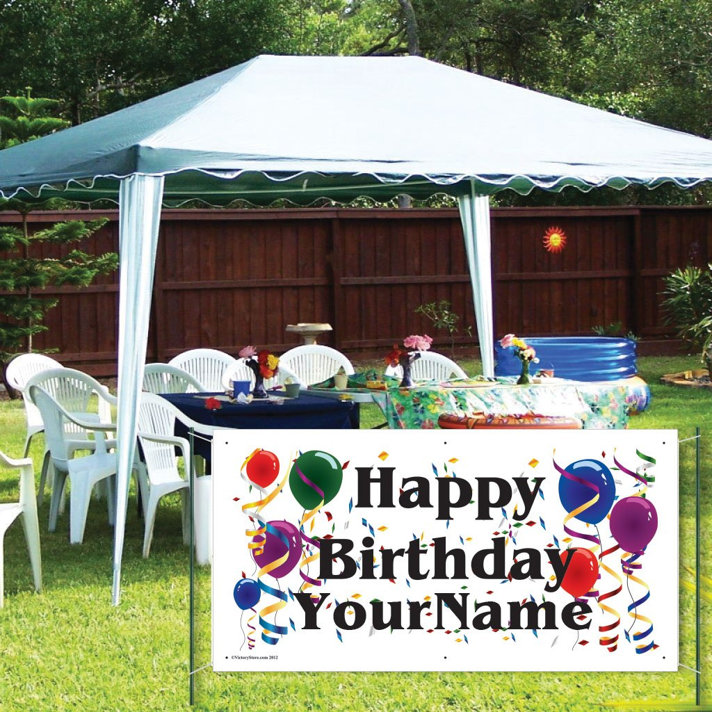 Custom Birthday Banner - Vinyl Happy Birthday Banner- Balloon Design (3'x6')
