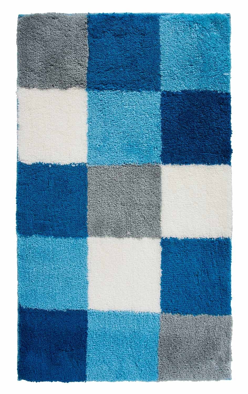 Home4You Badematte Badteppich Badezimmerteppich Tiziana 42     60 x 100 cm   Blau-Türkis-Weiß   Acryl 4cac4b