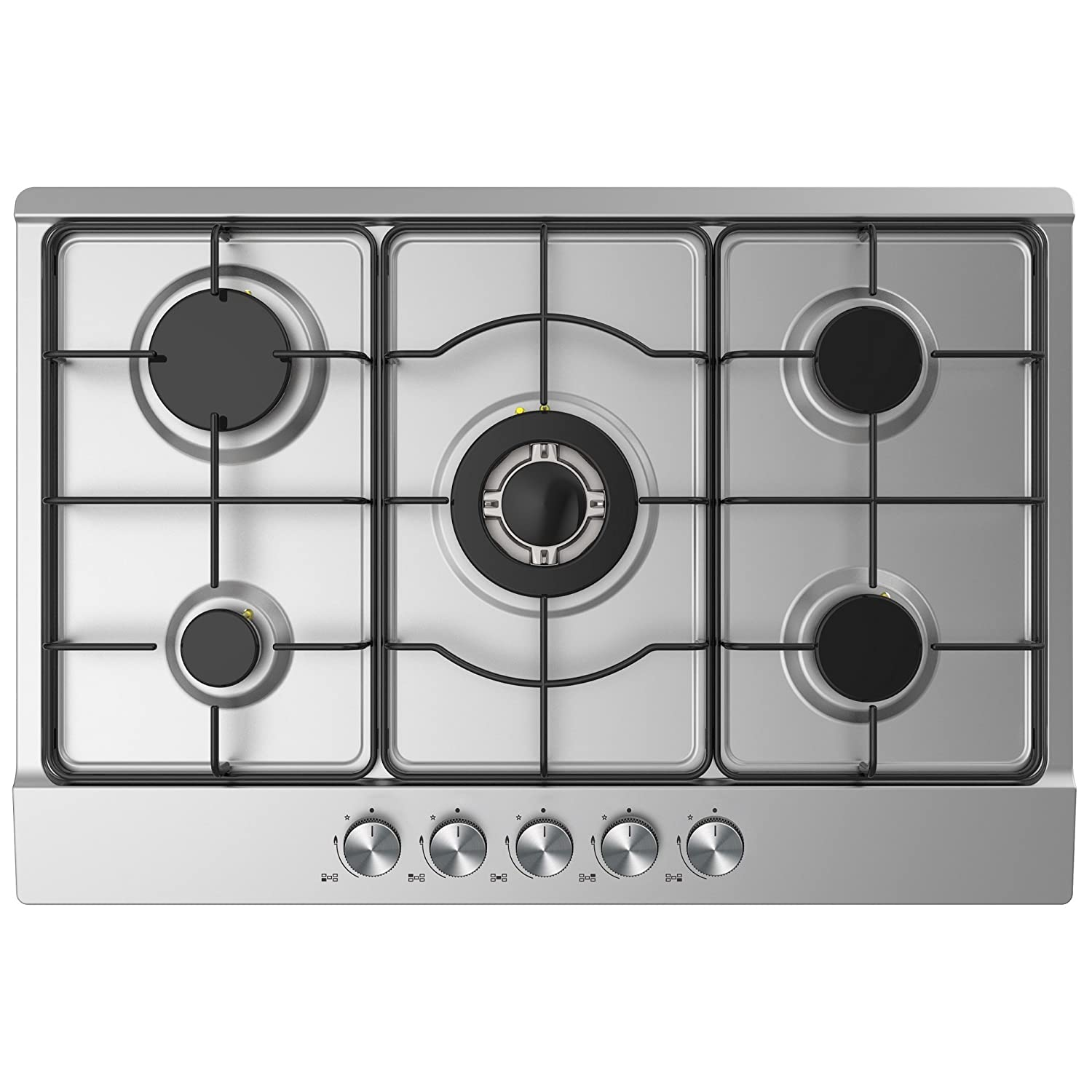 Cookology GH750SS Kitchen Hob | 75cm Built-in 5 Burner Gas Hob in Stainless Steel with Enamelled Pan Stands & LPG Jets