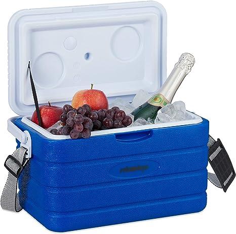 Relaxdays Nevera Portátil, Refrigerador Playa, Camping, sin Electricidad, Plástico, 10 l, 22,5 x 37,5 x 23 cm, Azul