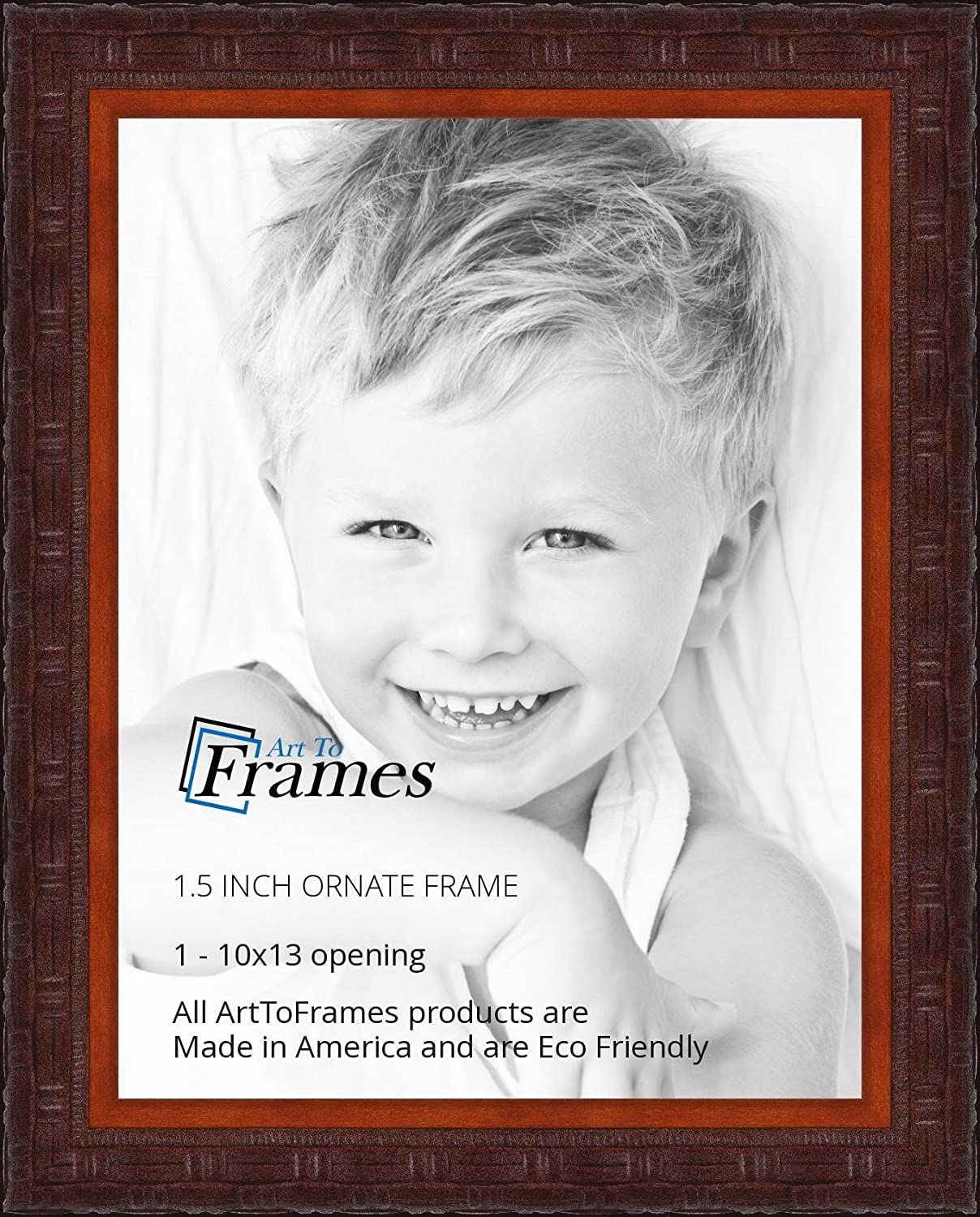 ArtToFrames WOMJ40059-4x6 Inch Picture Frame 4 X 6-Inch Ornate Carved Mahogany Stain on Wood