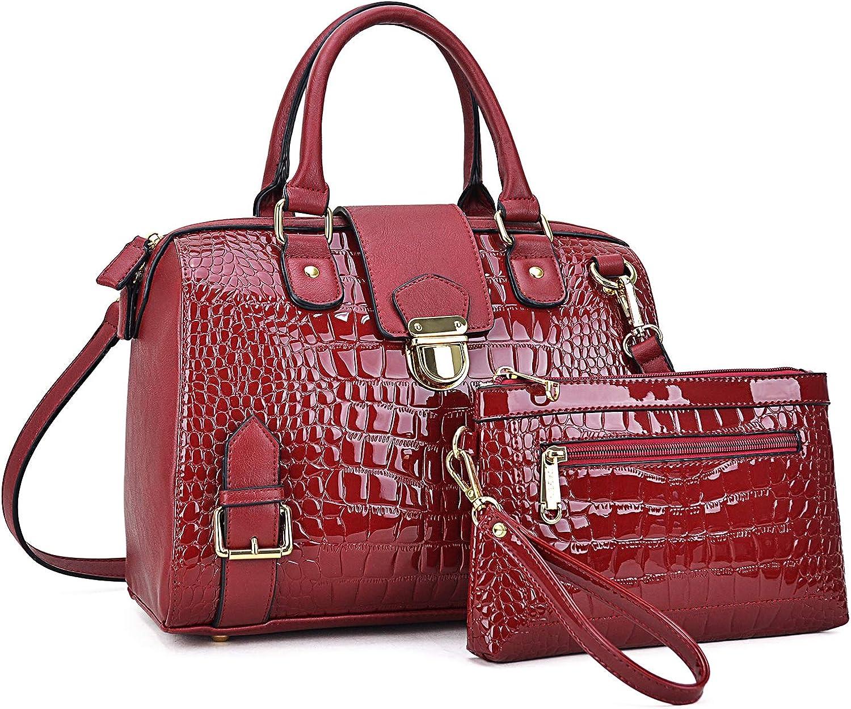 Dasein Women Barrel Handbags Purses Fashion Satchel Bags Top Handle Shoulder Bags Vegan Leather Work Bag