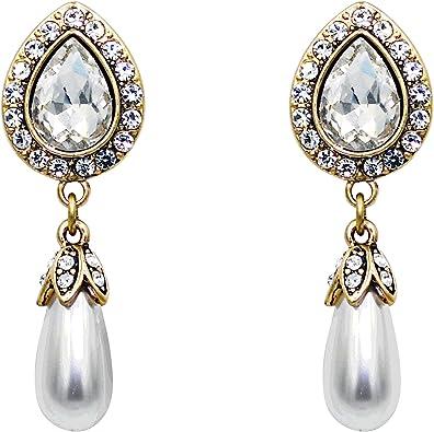 Anniversary Gift Women/'s earrings Bridal Jewelry Pearl Earrings Gift for mom Gift for her Heart earrings Diamond Halo Pearl Earrings