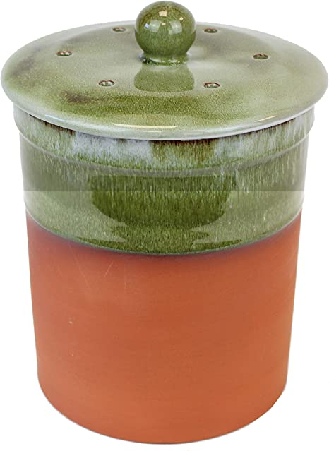 Terracota cubo para Compost de cocina de cerámica (Bramley de color verde) - cubo de basura de compostaje Chetnole de cerámica para guardar comida reciclado de residuos: Amazon.es: Hogar