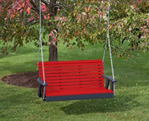 Ecommersify Inc 5FT-Bright RED-Poly Lumber ROLL Back Porch Swing Heavy Duty Everlasting PolyTuf HDPE - Made in USA - Amish Crafted