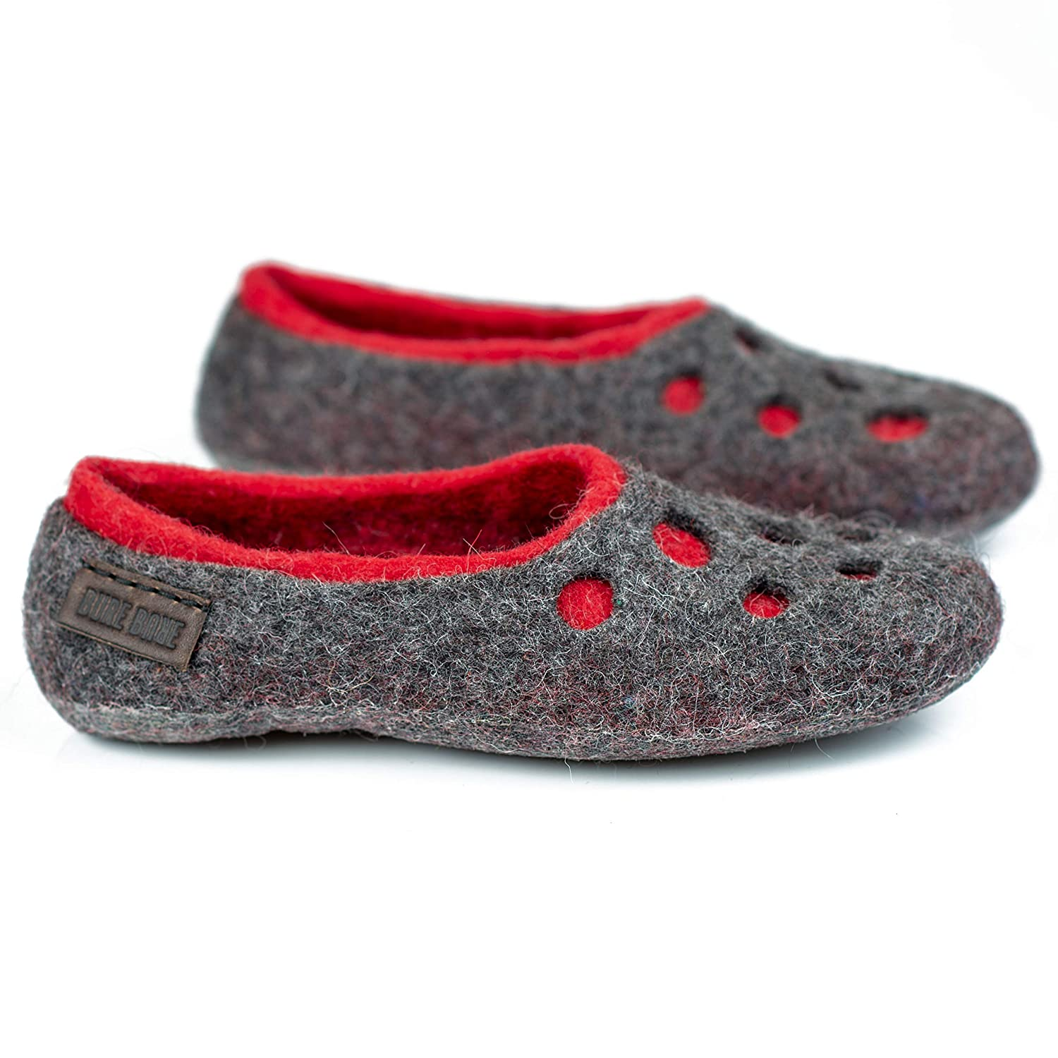 58612ffd9405b Moon Craters gray felted wool slippers for women, Handmade warm home shoes