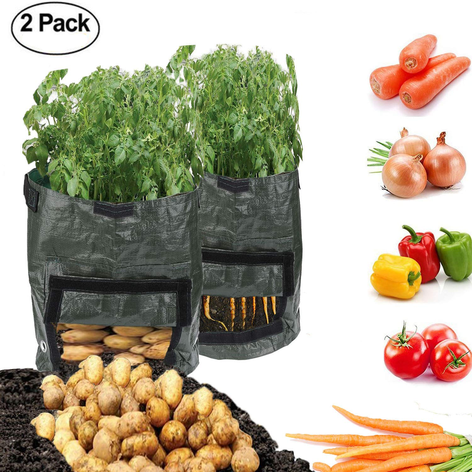 2Pack Garden Vegetables Planter Bags with Flap and Handles Heavy Duty Suitable for Potato, Carrot, Tomato, Onion and so on HIMM