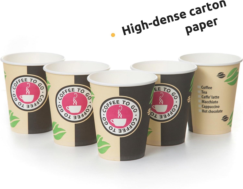 Le Th/é Tasse Caf/é 240ml Avec Couvercles Et Agitateurs En Bois Pour Servir Le Caf/é Des Boissons Chaudes Et Froides 80 Gobelets Carton Pour Caf/é /à Emporter