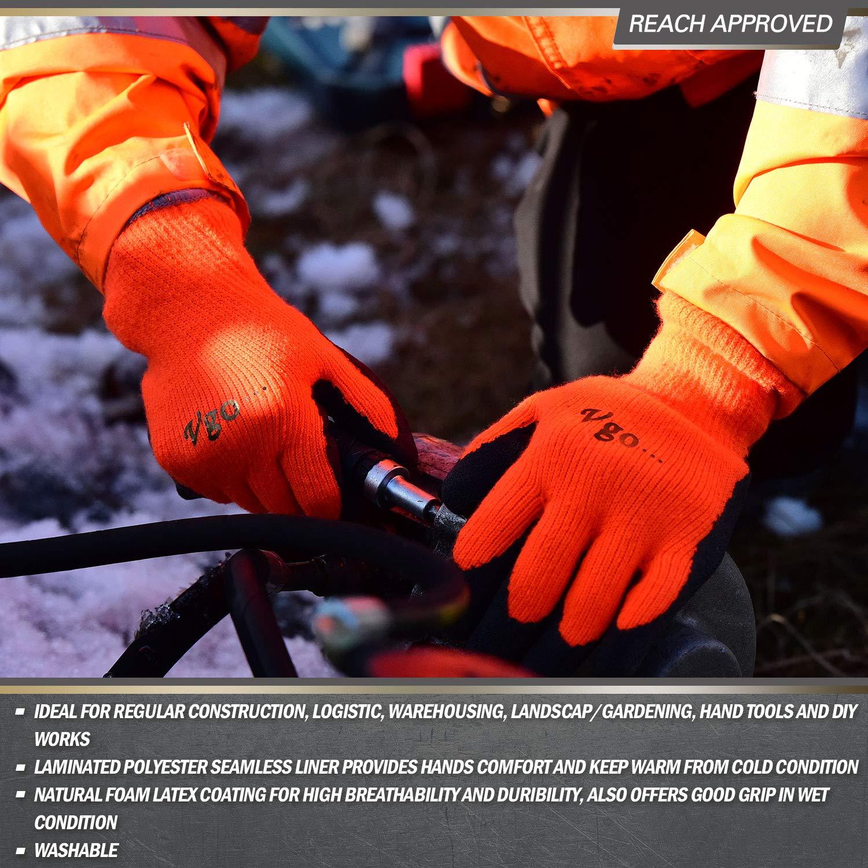9//L,Color Negro,Naranja Fluorescente y Verde Fluorescente,RB6010 guantes invierno revestidos con L/átex Vgo 3Pares 0℃ o superior 3M Thinsulate C40 Guantes de trabajo y de jardiner/ía 3 pares