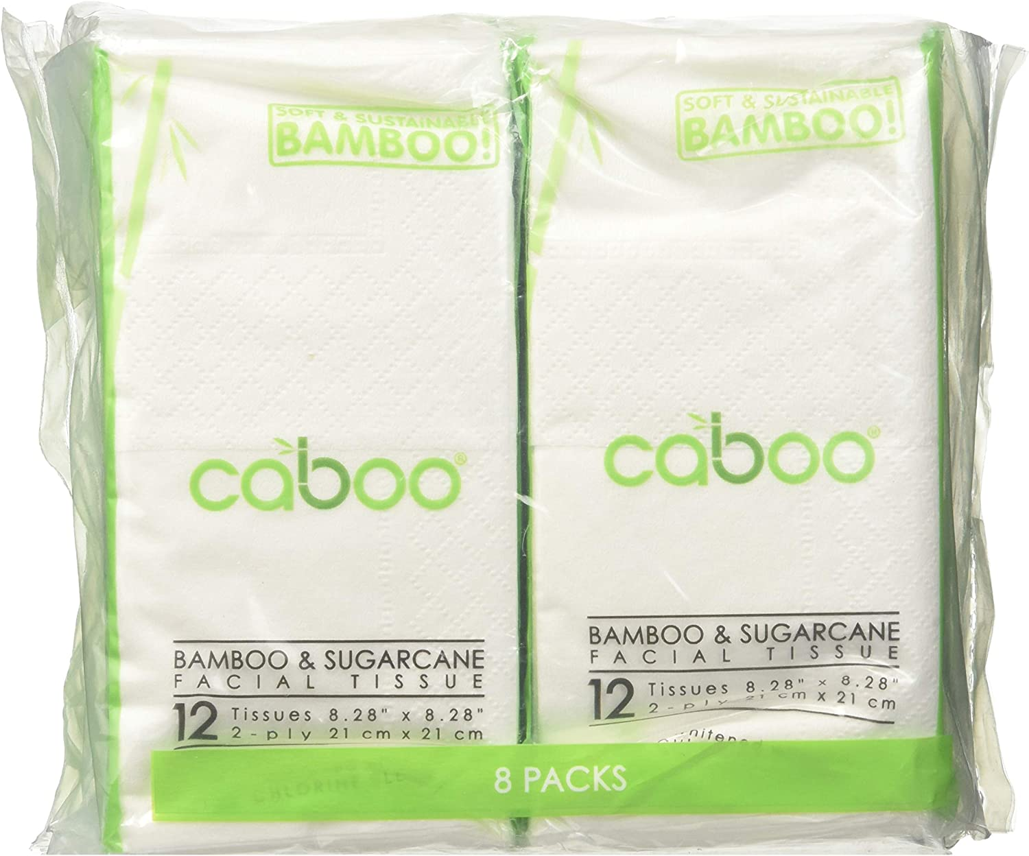 Caboo Tree Free Bamboo Facial Tissue Paper, 0.31 Pound , Pack of 8