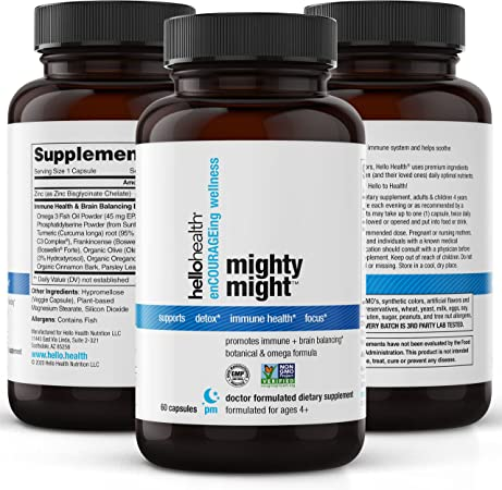 MightyMight Brain Support: Attention and Focus for Kids, Adults + Immune Support w/ Anti Inflammatory Omega 3, Turmeric Curcumin, Olive Leaf, Chelated Zinc, Boswellia Serrata, Parsley Capsules (60 ct)