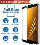 Knotyy Edge to Edge 9H Hardness Anti-Scratch 5D Curved Tempered Glass Screen Protector for Samsung A8 Plus (Black)