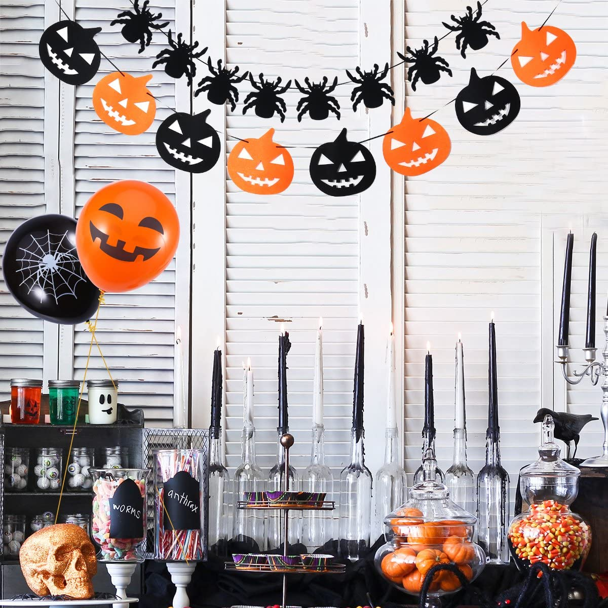 Halloween Hanging Swirl Decorations Halloween Banners Balloons Garlands for Halloween Party Decor Home Ceiling Doorway Decor