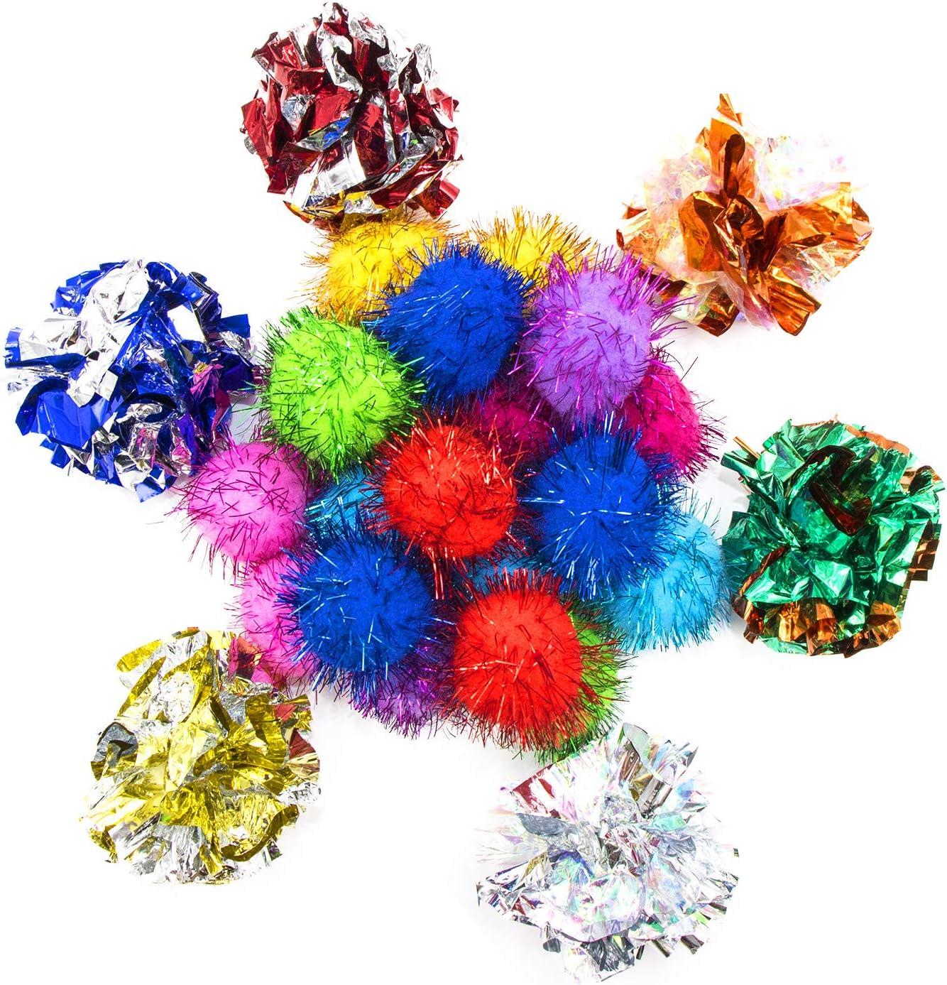 Vapker - Bolas brillantes de 3,32 cm y 6 cm, diseño de gato grande, 26 colores al azar, color