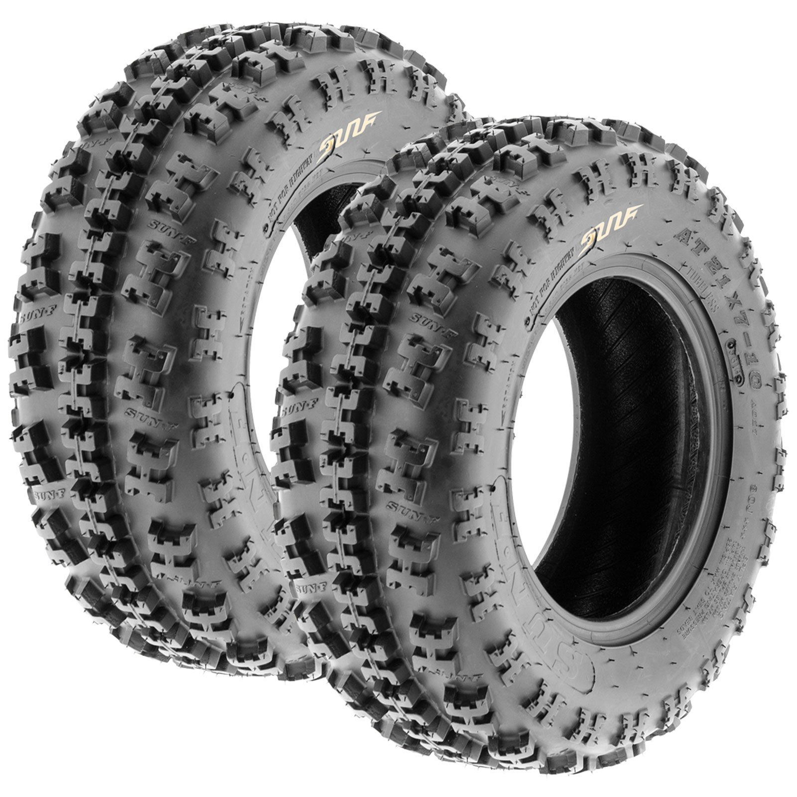 Set of 2 SunF A027 XC ATV UTV Knobby Sport Tires 21x7-10, 6 PR, Tubeless by SunF