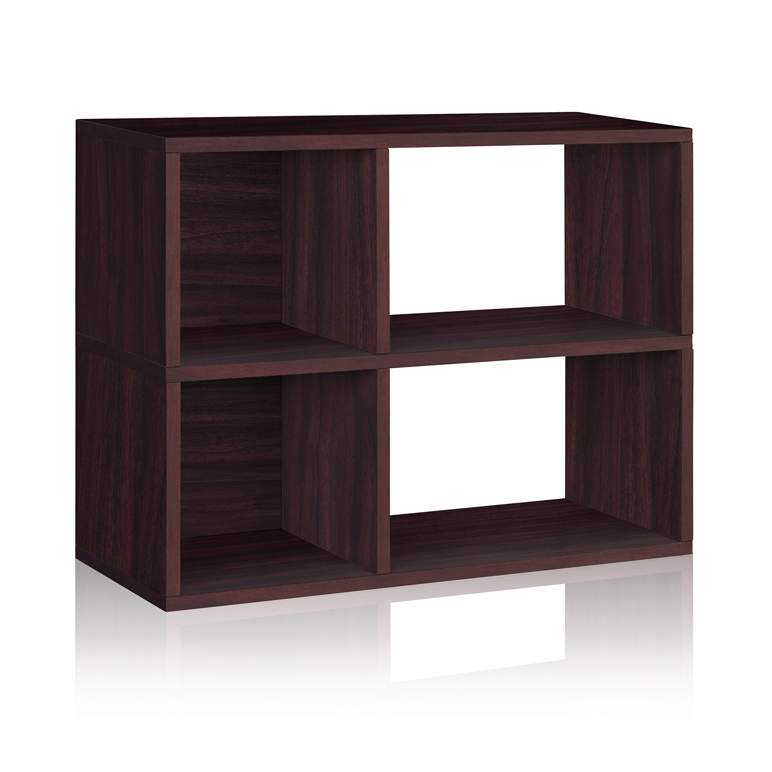 Way Basics Eco 2 Shelf Chelsea Bookcase and Cubby Storage, Espresso (made from sustainable non-toxic zBoard paperboard)