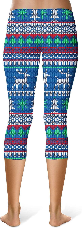 Ugly Christmas Santa Reindeers Mid Waist Sport Leggings Capri Length