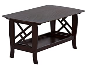 DeckUp Carlton Wooden Coffee Table (Rubberwood, Wenge)