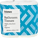 Amazon Brand - Solimo 3 Ply Toilet Paper/Tissue Roll - 4 Rolls (300 Pulls Per Roll)
