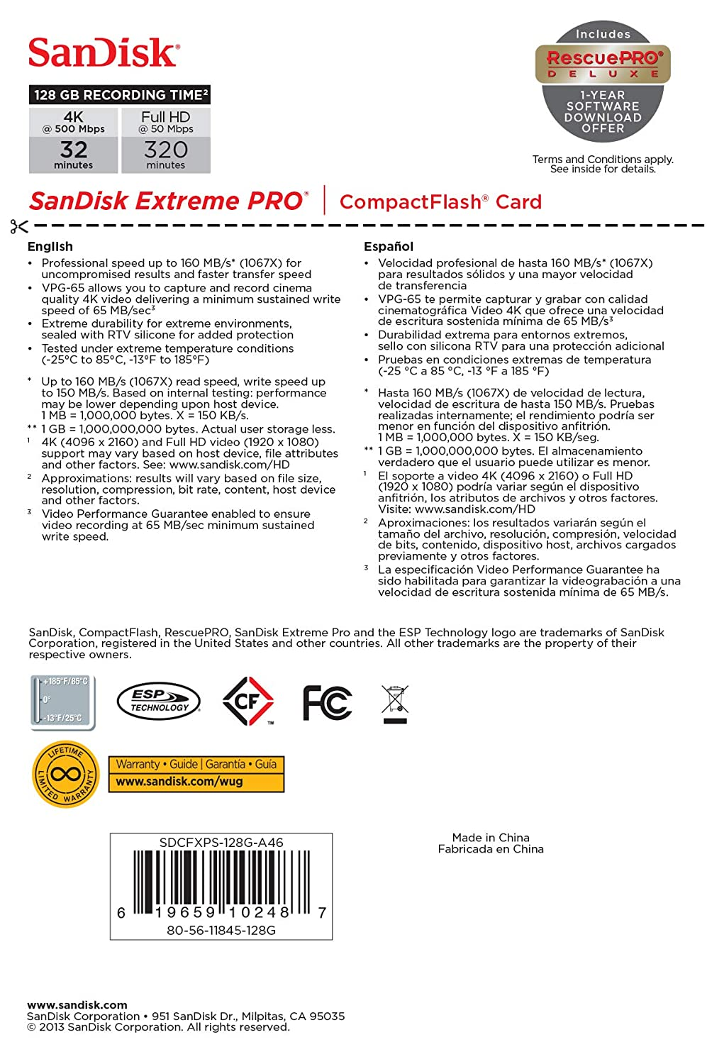 SanDisk Extreme Pro 32 GB 160 MB//s Compact Flash Memory Card Black//Gold//Red