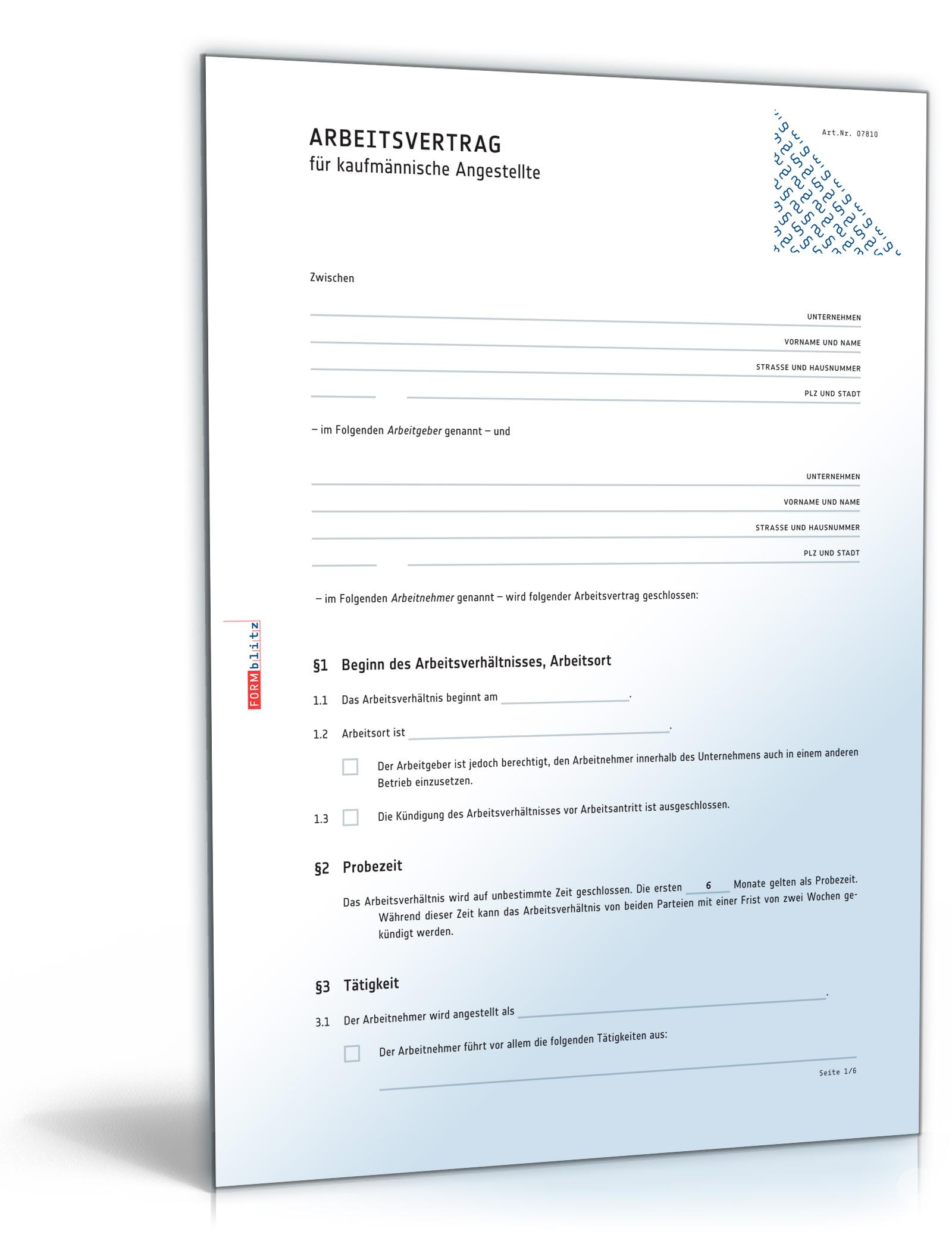 Arbeitsvertrag Kaufmännische Angestellte Pdf Download Download