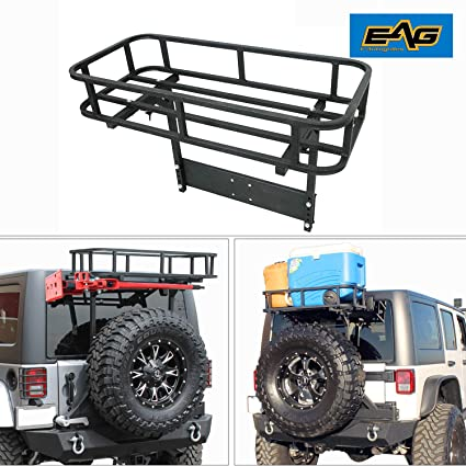 EAG Black Steel Rear Cargo Basket for Rear Bumper with Tire Carrier Fit for  87-18 Jeep Wrangler YJ TJ JK