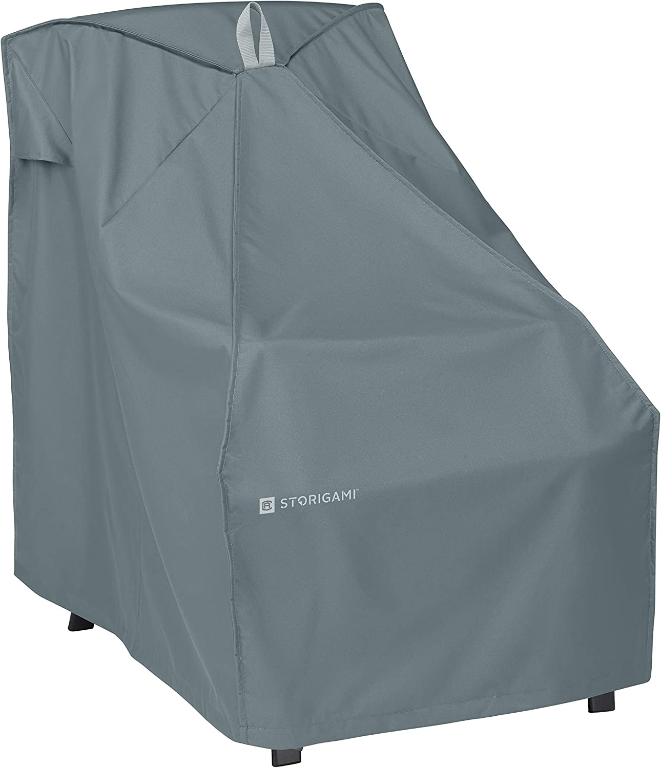 Classic Accessories Storigami Water-Resistant 26 Inch Easy Fold Patio High Back Chair Cover, Monument Grey