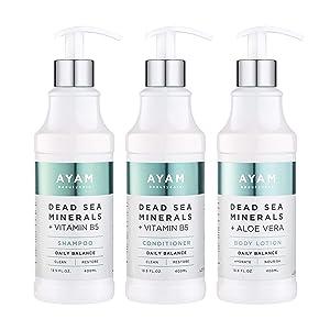 Ayam Beautycare Dead Sea Minerals + Vitamin B5 Frizz Control Shampoo, Conditioner & Body Lotion Set 13.5 fl oz