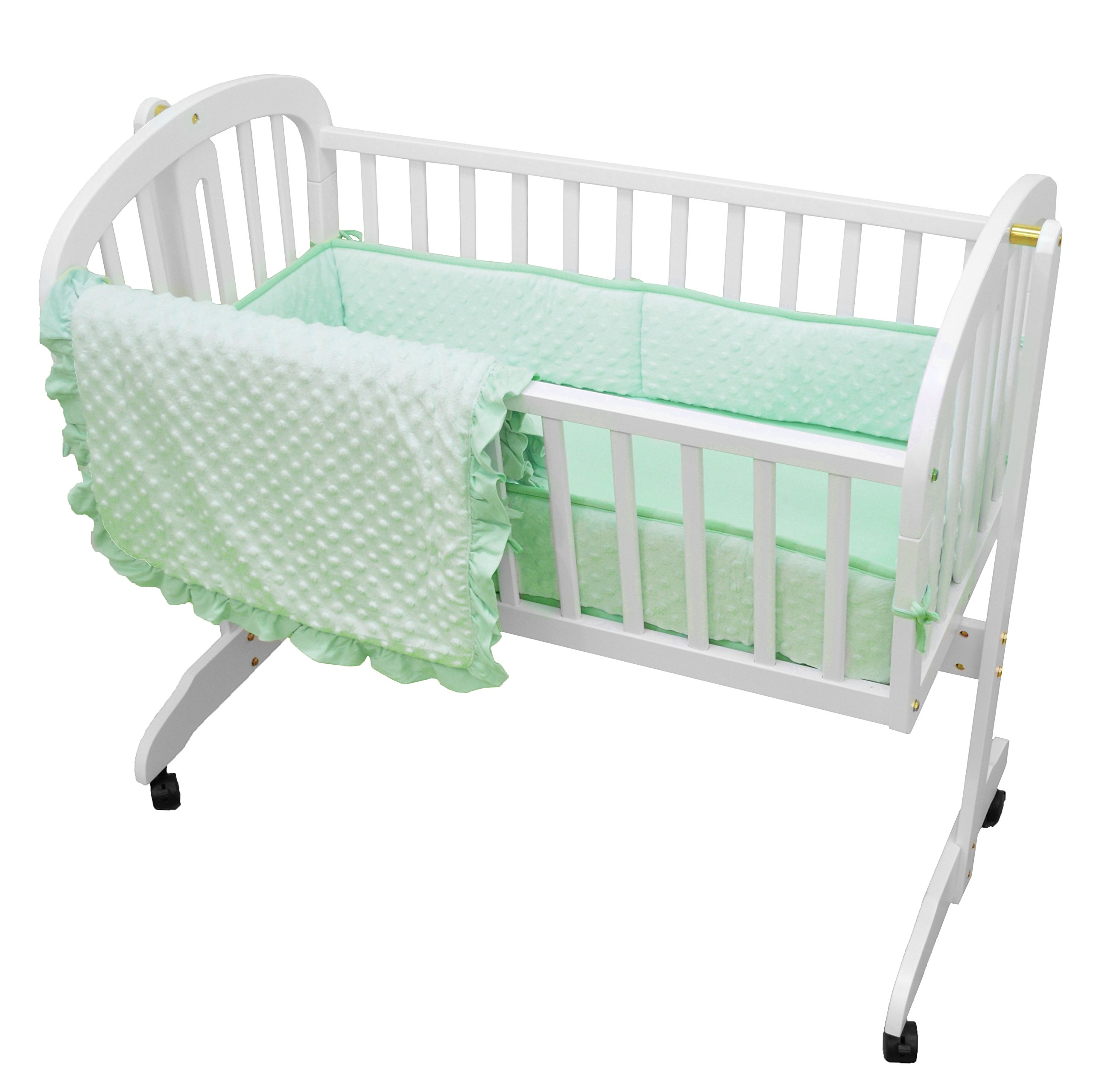 American Baby Company 3 Piece Heavenly Soft Cradle Bedding Set, Minky Dot, Mint by American Baby Company