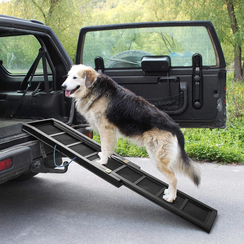 Tectake 403247 Hunderampe Auto Ausziehbare Einstiegshilfe Für Hunde Teleskop Hundetreppe Autorampe Aus Holz Rutschfest 165 X 43 Cm Belastbar Bis 80 Kg Haustier