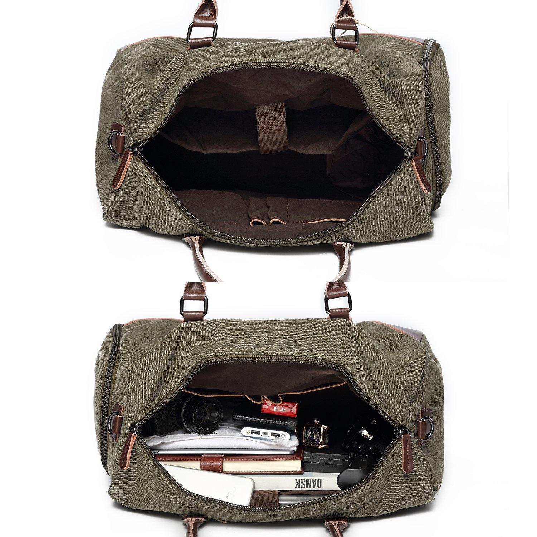Fresion Casual Reisetasche Sporttasche Weekender Tasche Umhängetasche Duffel Bag für Damen Herren mit Großen Kapazität Armeegrün