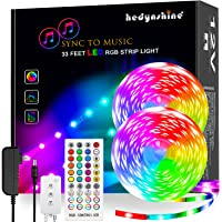 LED Strip Lights Music, Hedynshine 32.8 feet 300pcs chip Superbright Strip Lights with 40Key Remote,Sync to Music Led…