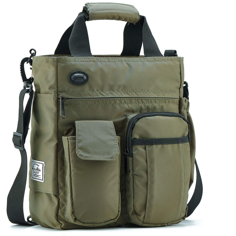 Olive Green Messenger Bag Men Shoulder Crossbody Laptop Business Bag Nylon for Travel Work