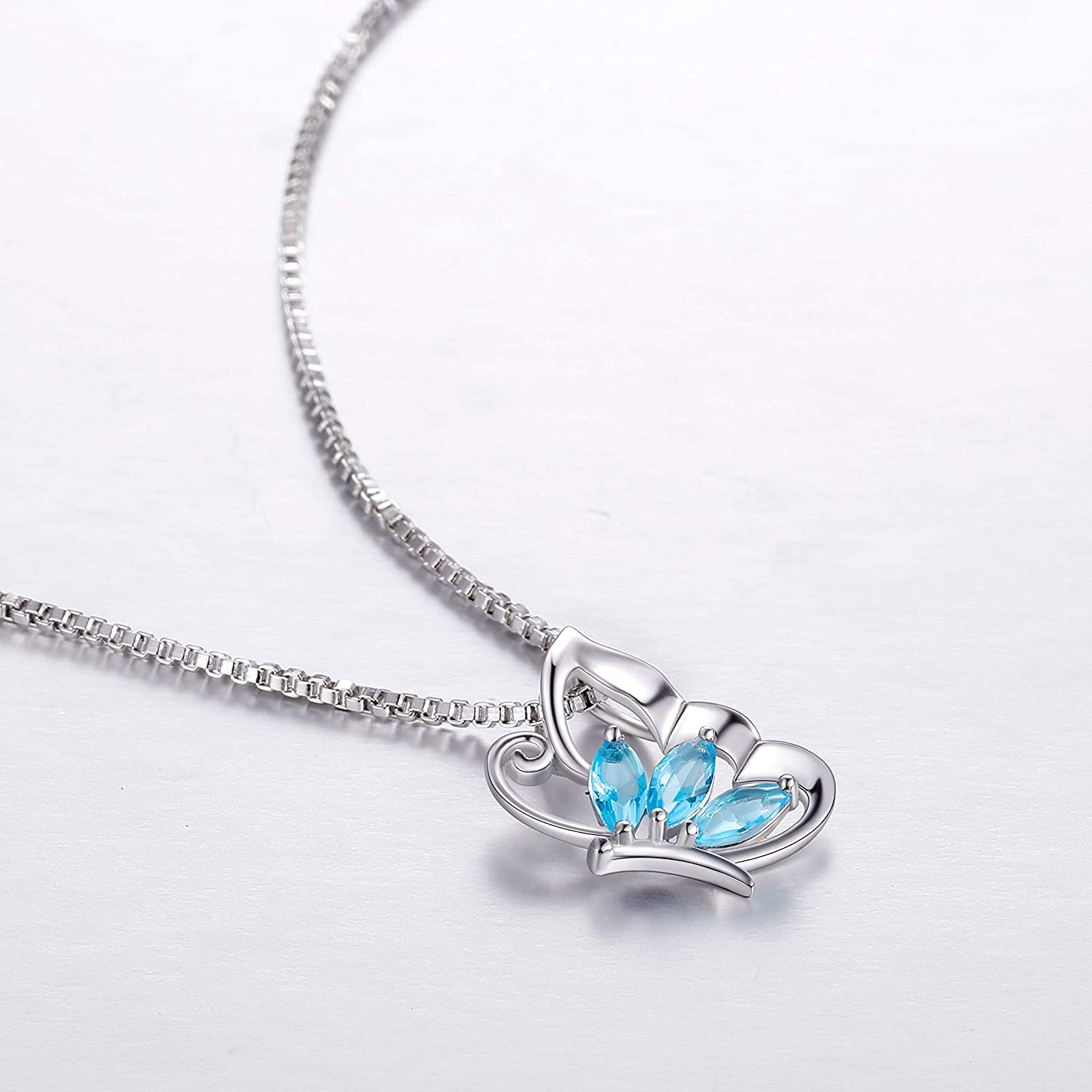 Aurora Tears Crystal Butterfly Necklaces Women 925 Sterling Silver Animal Jewelry Cute Butterflies Pendant Girls Dating Gift DP0014