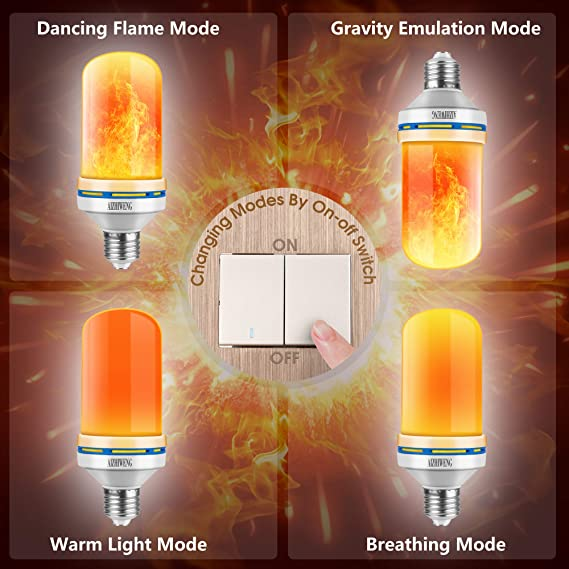 Flame Light Bulb 2 Pack Led Flame Effect Light Bulbs With Upside Inverted Realistic Flickering Faux Flames 5 Watt 150 Lumens Perfect For Indoor Or Outdoor Lighting 4 Dimmable Modes Amazon Com