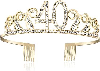 90 anni Rosa Babeyond Cristallo Strass Corona Compleanno Tiara Birthday Cerchietto Compleanno Accessore Compleanno 18//20//21//30//40//50//60 Annni Strass Argento con Pettine