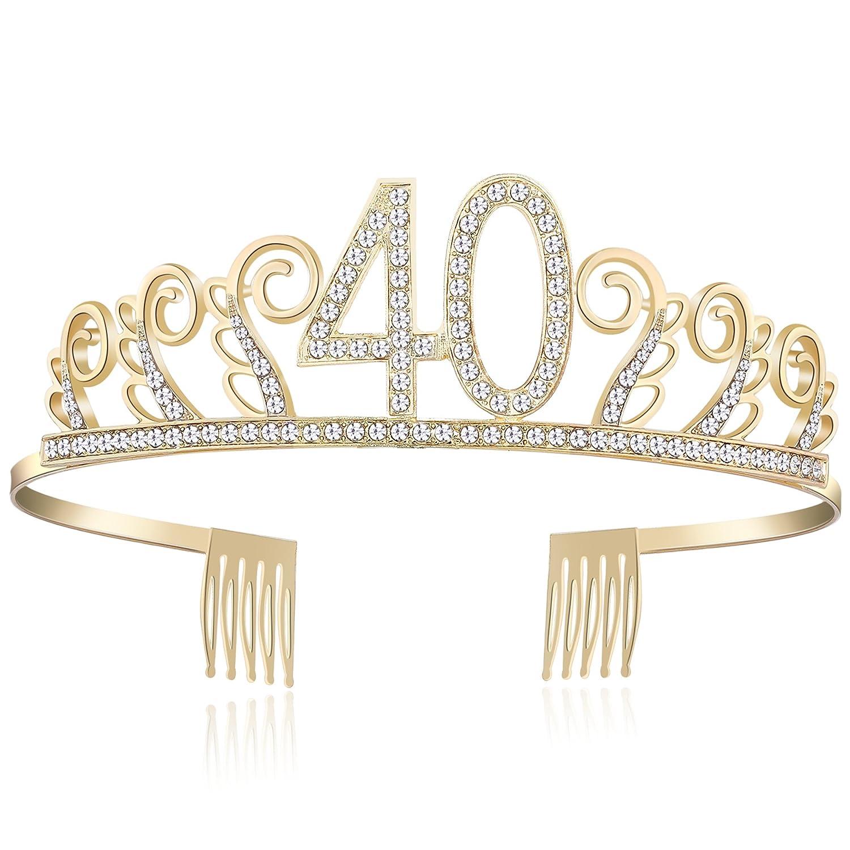 Babeyond Couronne Anniversaire Bandeau Anniversaire Bling Cristal Tiara Princesse Couronne d'Anniversaire Joyeux Anniversaire 18/20/21/30/40/50/60 Ans (20 Ans Argenté)