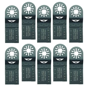 3 x 10mm TopsTools UN10F/_3 lames de coupe de bois pour Bosch Fein Pas StarLock Makita Milwaukee Einhell Hitachi Parkside Ryobi Worx Workzone Multitool Outil multifonction Accessoires